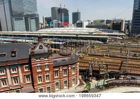 Tokyo Station And Jr Bullet Train Or Shinkansen