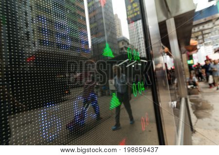 Stock market quotes with city scene