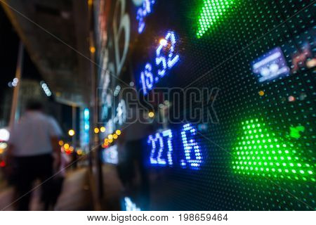 Stock market quotes with city scene reflect on glass