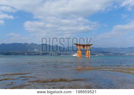 Itsukushima with blue sky