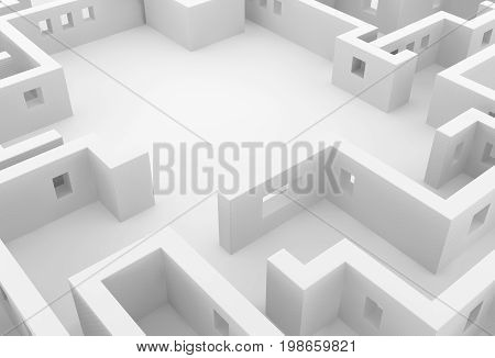 White wall labyrinth empty space abstract 3d illustration horizontal