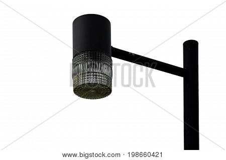 Close up of street lighting lamp post isolated on white background with clipping path