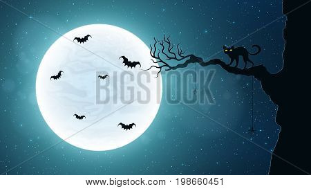 Black cat on a tree against the background of the full moon. Terrible night. Flying bats. Realistic starry sky. Background for Halloween. Vector illustration