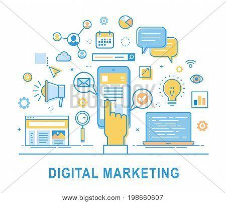 Digital marketing. Social network media communication SEO SEM promotion. Media planning online business purchasing financial analysis and statistics. Thin line design. Infographics elements.