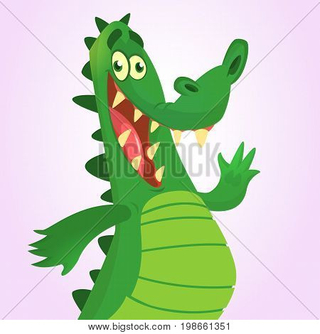 Cool cartoon crocodile or dinosaur. Vector illustration of a green crocodile waving and presenting. Isolated on white. Great for animation