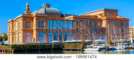 panoramic views of the theater Margherita on the seafront of Bari Puglia - Italy