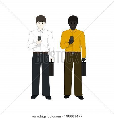 European and an African American Man with a Phone and a BriefcaseTwo Businessmen European Man in a White Shirt and an African American in a Yellow Shirt Vector Illustration