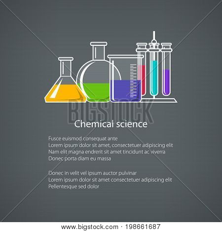 Flasks Beakers and Test-tube with Text Chemical Laboratory Equipment on Gray Background Chemistry Lab Poster Flyer Brochure DesignVector Illustration