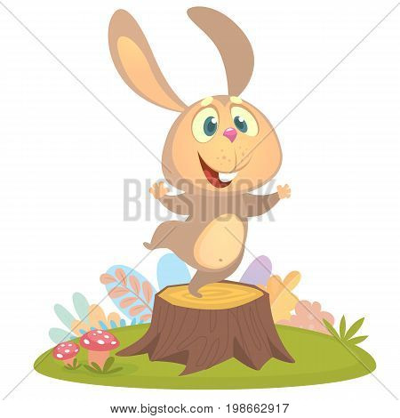 Cartoon cool little bunny rabbit dancing on tree stump in summer season background with flower and mushrooms. Vector illustration isolated