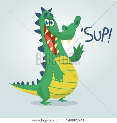 Cool cartoon crocodile or dinosaur. Vector illustration of a green crocodile waving and presenting. Isolated light background. Great for animation