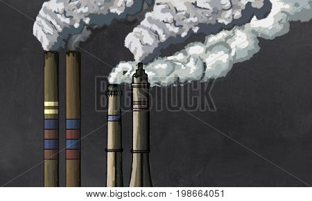 Pollution from Industrial Chimneys Illustration on Blackboard with blank space for Writing