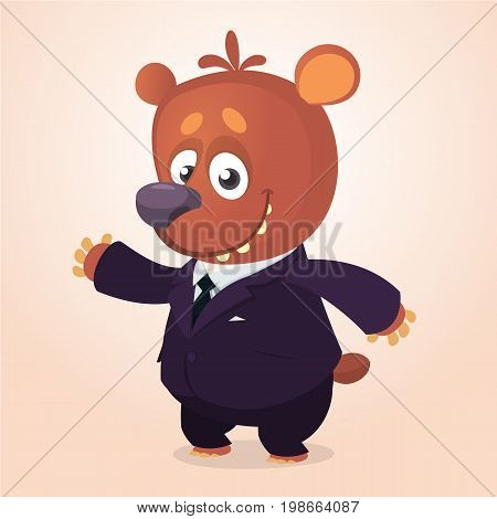 Cartoon brown bear dressed up in office suit presenting. Vector art illustration. Fashion animal or business animal. Bear mascot businessman