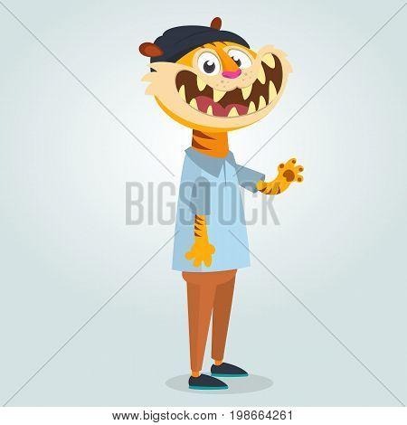Pretty human-look. Isolated cartoon: teenage fashion hipster tiger wearing black hat. Flat vector illustration.