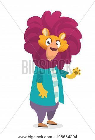 Pretty human-look. Isolated cartoon: teenage fashion hipster lion. Flat vector illustration.