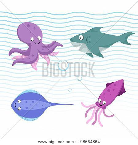 Vector cartoon different sea and ocean animals set. Isolated vector illustration. Octopus stingray shark cuttlefish.