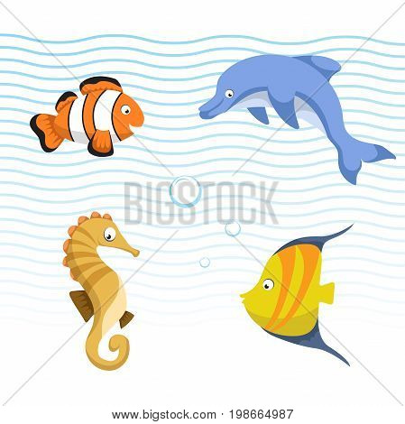 Vector cute different sea and ocean animals set. Isolated vector illustration. Colorful striped fish seahorse clown fish dolphin.