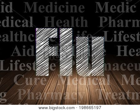 Medicine concept: Glowing text Flu in grunge dark room with Wooden Floor, black background with  Tag Cloud