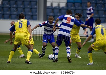 LONDON, UK AUGUST 2,Dexter Blackstock fights his way through the defence at the pre-season friendly football match between QPR and Chievo,