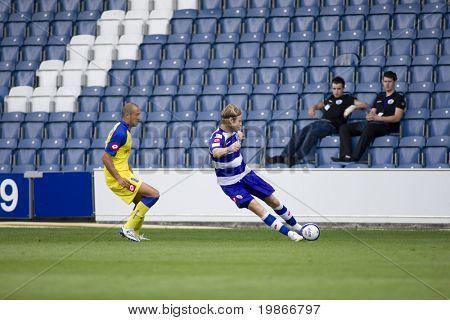 LONDON, UK AUGUST 2, Mico Gasparetto and Gareth Ainsworth at the pre-season friendly football match between QPR and Chievo,
