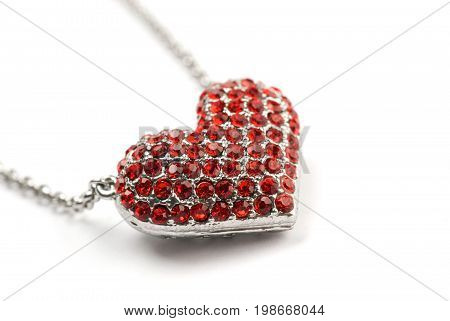 Red Diamond Heart, pendant necklace silver and red