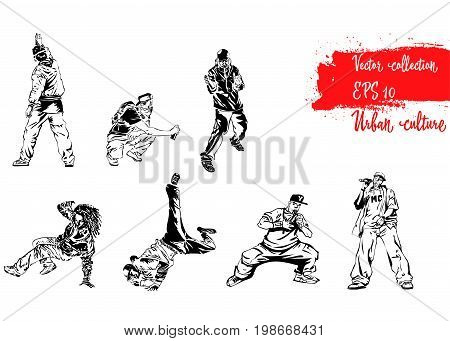 Set of illustrations with representatives of Urban Culture. Breakdancers rapers and graffiti artists. Extreme theme modern print. Vector design elements. Isolated on white