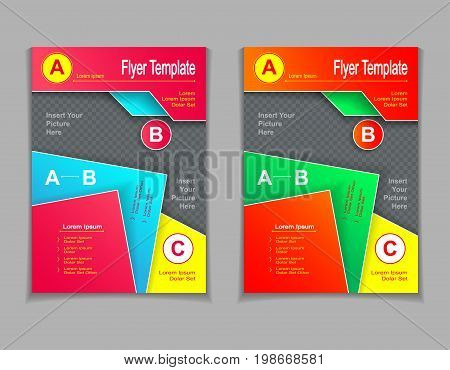 Set template of flyers or brochures or  magazines  covers with cut paper effect  in red blue orange green yellow colors