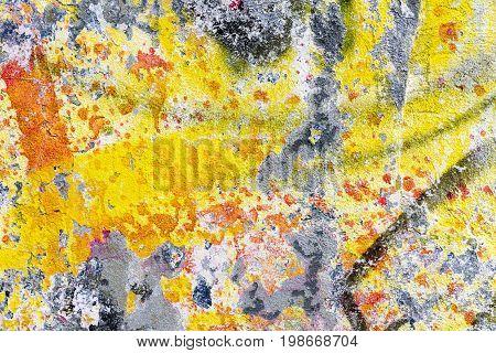 colorful concrete yellow orange black concrete wall texture background. Textured plaster