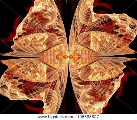 Computer generated fractal artwork with wings of butterfly