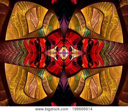 Computer generated fractal artwork with abstract butterfly