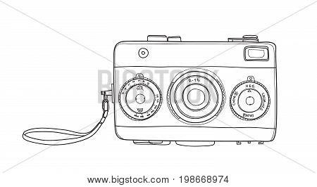 Film Camera Vintage  35 Mm Rangefinder Hand Drawn Cute Vector Line Art Illustration