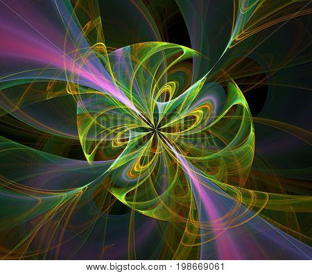 Computer generated fractal artwork with rainbow mist