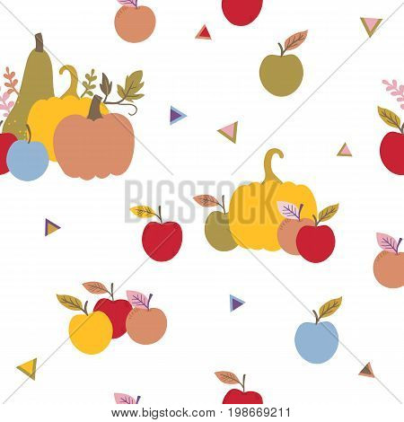Vector Seamless Pattern With Autumn Harvest, Pumpkins And Apples. Trendy Yellow Red Green And Blue C