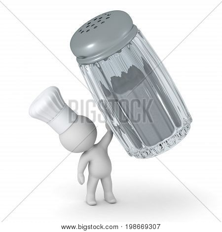 3D character in a chef hat holding up a large salt shaker. Isolated on white background.