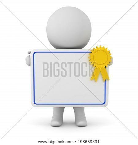 3D character holding a diploma with gold ribbon. Isolated on white background.
