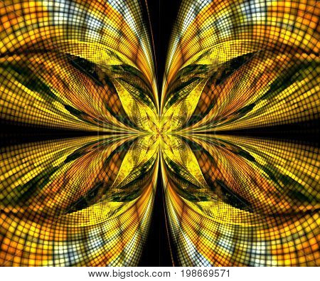 Computer generated fractal artwork with yellow butterfly
