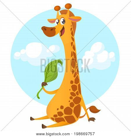 Cartoon giraffe character. Vector illustration pretty giraffe eating a leaf and smiling. Great for sticker print or design