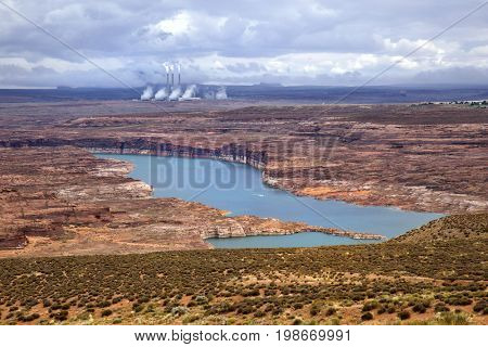 View of lake powell with Navajo Generating Station in the background
