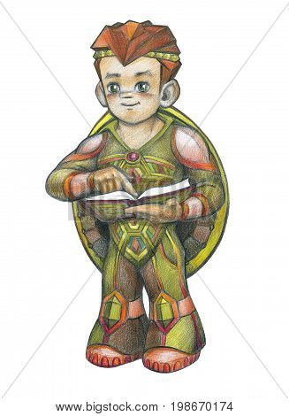 A turtle boy is a character. Hero for the postcard. The image of the boy is made with colored pencils. For children's postcard, illustration, drawing.