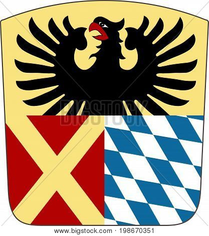 Coat of arms of Donau-Ries is a district in Swabia Bavaria Germany. Vector illustration from the