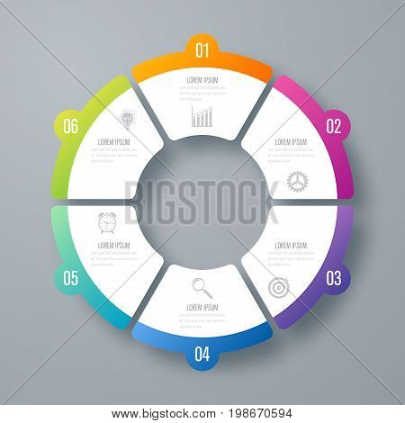 Infographics template 6 options with circles. Can be used for workflow layout, diagram, number options, step up options, web design, presentations