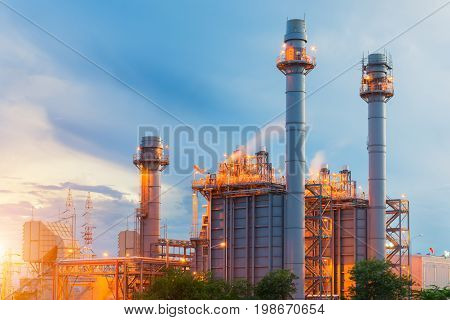 power plant in the petrochemical plant at blue sky