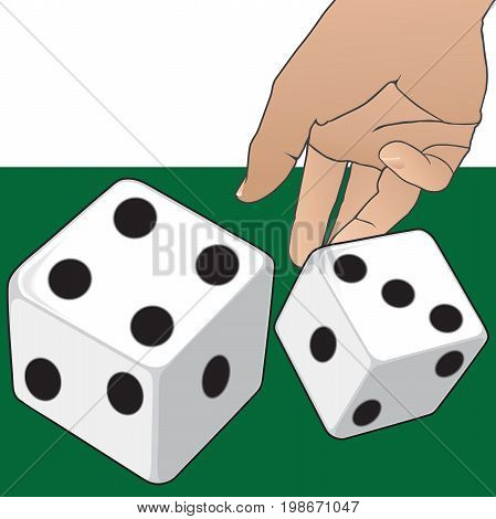 A hand is tossing dice onto a green surface