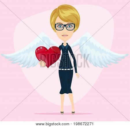 cute little angel valentine greeting card. Stock flat vector illustration.