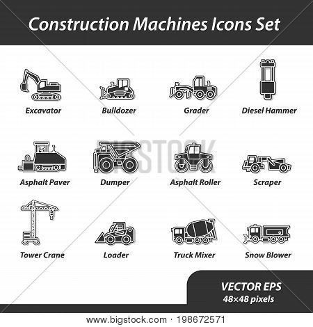 Construction machines set of flat icons. This is a set of vector icons for websites and electronic applications. These icons have a size of 48 by 48 pixels. Also you can edit the size of the icons in the graphical editor.