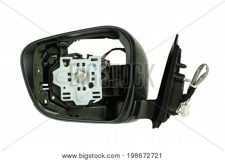 Rearview mirror disassembled, inside view isolated on white background