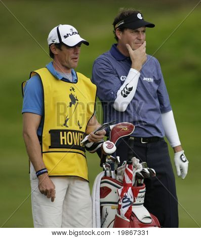 GLENEAGLES SCOTLAND AUGUST 29, England's David Howell mulls over a shot with his Caddie whilst competing in the Johnnie Walker Classic PGA European Tour golf tournament at Gleneagles
