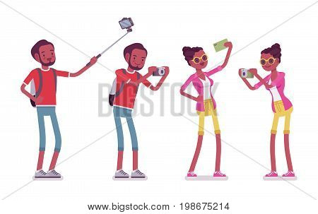 Black male and female tourist photographing. Taking pictures and selfie, photography hobbyist. Travel and tourism concept. Vector flat style cartoon illustration, isolated, white background