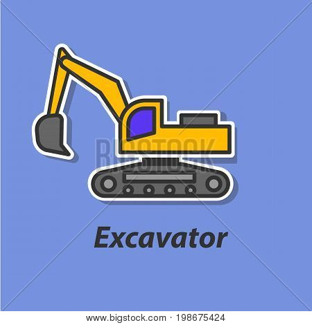 Excavator color flat icon. This is the vector icon for websites and electronic applications. This icon have a size of 48 by 48 pixels. Also you can edit the size of the icon in the graphical editor.