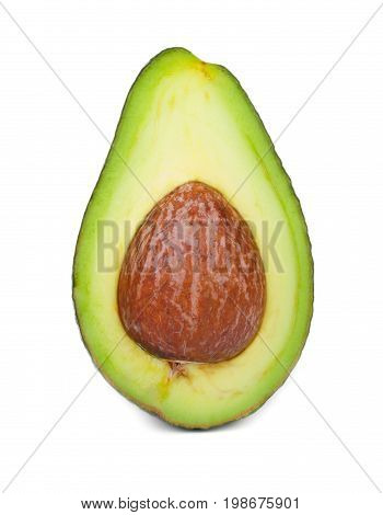 Macro picture of a green avocado half, isolated on a white background. A cut pear-shaped fruit with a rough leathery skin, edible flesh, and a large core. Healthy food.