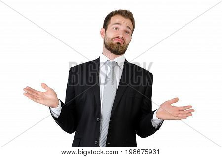 Businessman Shrugging Off Against White Background